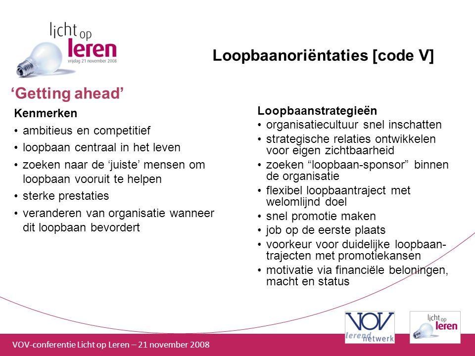 Loopbaanoriëntaties [code V]